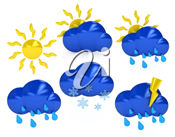 Royalty Free Clipart Image of Weather Symbols