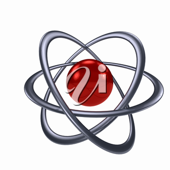 Atom sign over white background. computer generated image