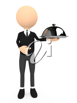 Chef with a cloche, on white background, 3d render