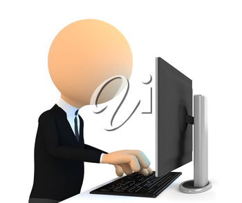 3d character Working on computer. On white background
