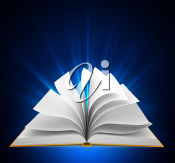 Open book over blue background. Computer generated image