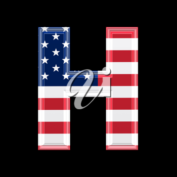 Royalty Free Clipart Image of an American Flag 'H'