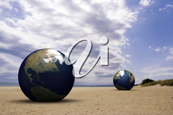 Royalty Free Clipart Image of Earth on a Beach