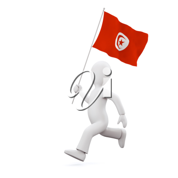 Royalty Free Clipart Image of a Man Holding Flag of Tunisian