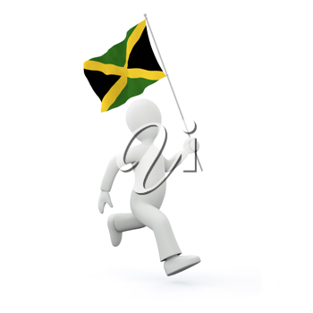 Royalty Free Clipart Image of a Man Holding a Jamaican Flag