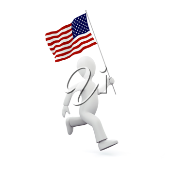 Royalty Free Clipart Image of a Man Holding an American Flag