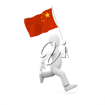 Royalty Free Clipart Image of a Man Holding a Chinese Flag