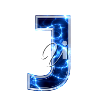 electric 3d letter isolated on a white background - j