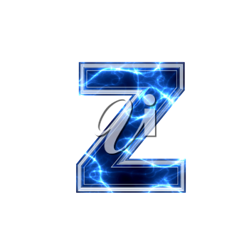 3d electric letter isolated on a white background - z