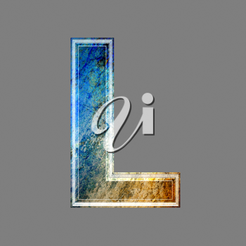 grunge 3d  letter isolated on grey background - L
