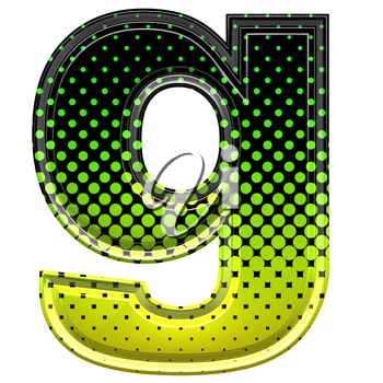 Halftone 3d lower-case letter g