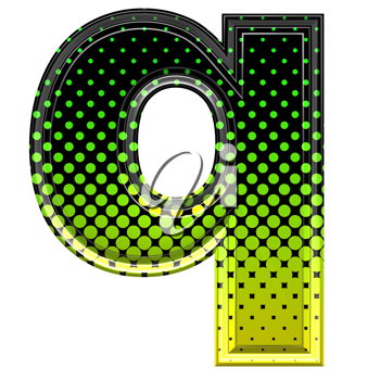 Halftone 3d lower-case letter q