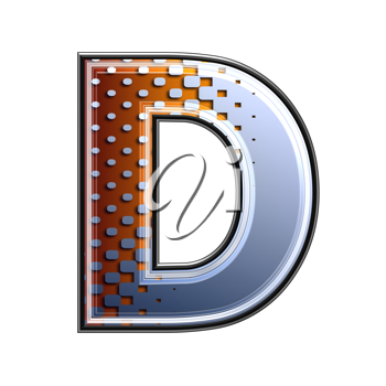 3d letter with abstract texture - d