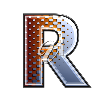3d letter with abstract texture - r