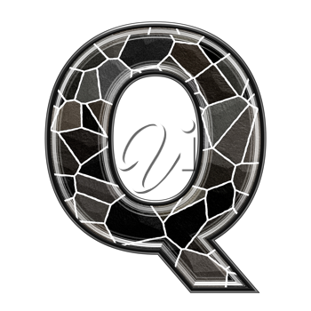 Abstract 3d letter with stone wall texture - Q