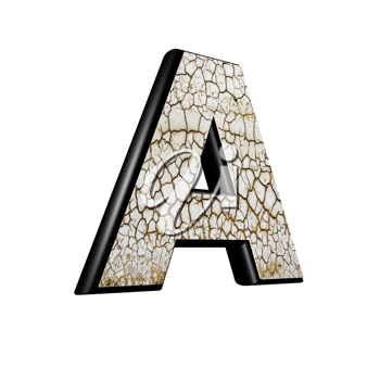 abstract 3d letter with dry ground texture - A