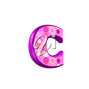 3d pink letter isolated on a white background - c