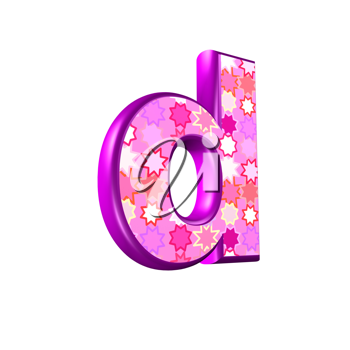 3d pink letter isolated on a white background - d