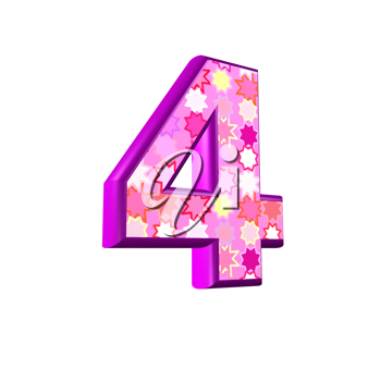 3d pink digit isolated on a white background - 4