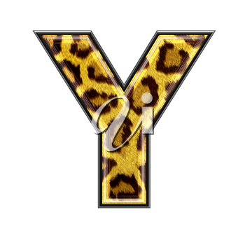3d letter with panther skin texture - Y