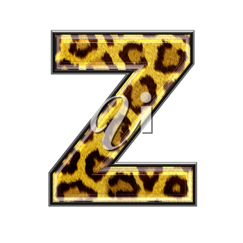 3d letter with panther skin texture - Z