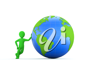 A 3d green character with glossy green and blue globe