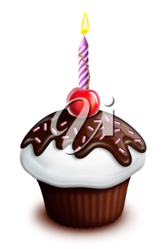Royalty Free Clipart Image of a Cupcake With a Candle