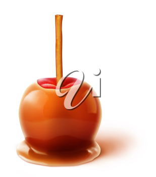 Royalty Free Clipart Image of a Caramel Apple