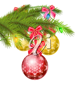Royalty Free Clipart Image of Tree Ornaments on a Branch With Ribbons