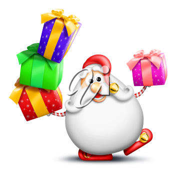 Royalty Free Clipart Image of Santa With Gifts