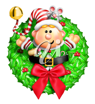 Royalty Free Clipart Image of an Elf Wreath