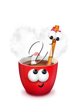 Royalty Free Clipart Image of a Drink With a Cinnamon Stick