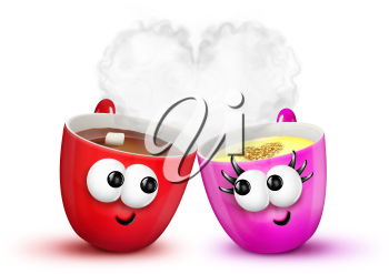 Royalty Free Clipart Image of a Cup of Hot Chocolate and a Cup of Eggnog in Love