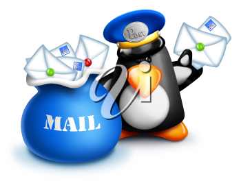 Royalty Free Clipart Image of a Penguin Mail Carrier