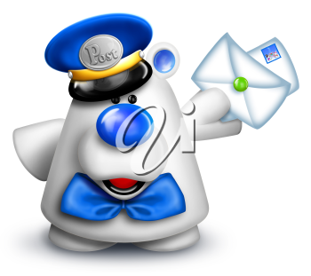 Royalty Free Clipart Image of a Polar Bear With Mail