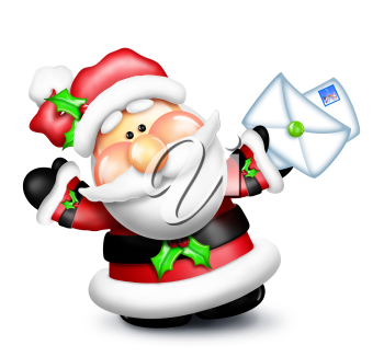 Royalty Free Clipart Image of Santa With Envelopes