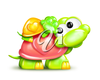 Royalty Free Clipart Image of a Turtle With a Baby Sleeping on Its Back