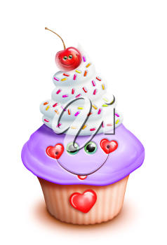 Royalty Free Clipart Image of a Cupcake With Hearts