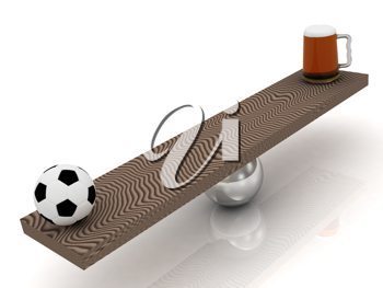 Royalty Free Clipart Image of a Soccer Ball and Beer Balancing