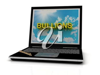 Royalty Free Clipart Image of the Word Bullions on a Laptop