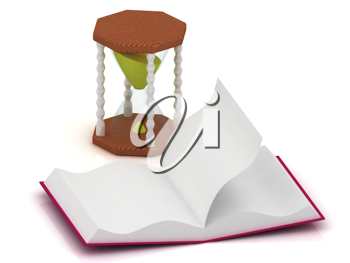 Royalty Free Clipart Image of an Hourglass and Open Book