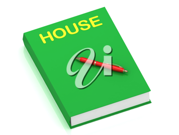 Royalty Free Clipart Image of a Book With the Word House
