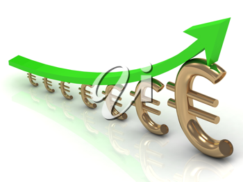Royalty Free Clipart Image of a Graph With Euro Signs and an Arrow