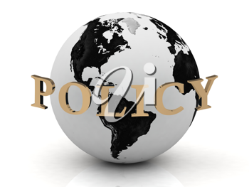 Royalty Free Clipart Image of a Globe With the Word Policy