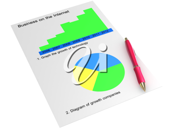 Royalty Free Clipart Image of Two Graphs and a Pen