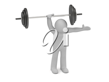 3d man holds up a heavy barbell with one hand