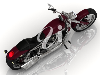 Beautiful road motorcycle on a white background. Top view