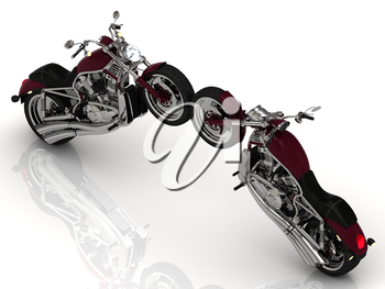 Two motorcycles standing wheel to wheel on a white background