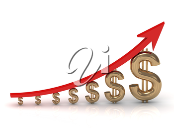 Illustration of the growth of the golden dollar with a red arrow on white background