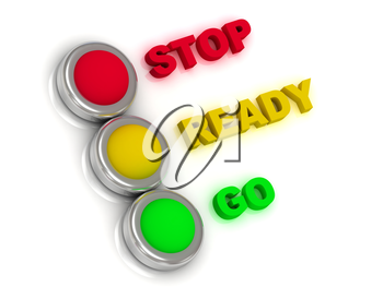 Stop, ready, go. Traffic lights with red, yellow and green lights traffic with inscriptions